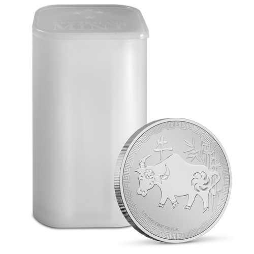1oz Silver Bullion Coin Year Of The Ox Niue 2021 Tube Holder