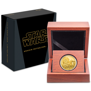 Star Wars Classic: Anakin Skywalker™ 1/4oz Gold Coin in Wooden Display Packaging