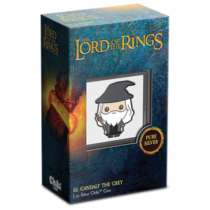Chibi™ Coin Collection THE LORD OF THE RINGS™ Series – Gandalf the Grey 1oz Silver Coin Display Box and Certificate of Authenticity Hologram Sticker
