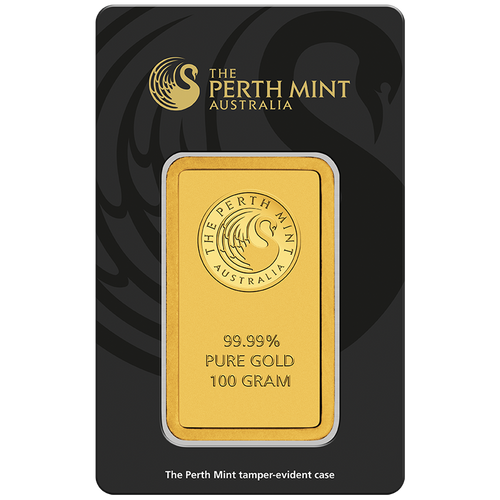 100g Gold Minted Bar Perth Mint in tamperproof packaging