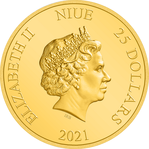 Ian Rank-Broadley Effigy of Queen Elizabeth II $25 Niue 2021 Obverse