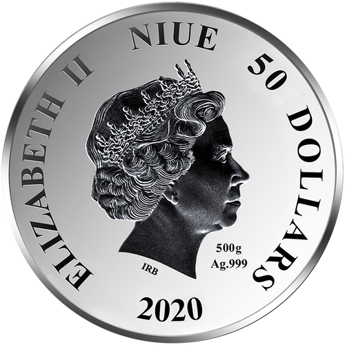 Ian Rank-Broadley Effigy of Queen Elizabeth II $50 Niue 2020 Obverse