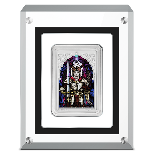 Archangel Michael 1oz Silver Coin in Perspex
