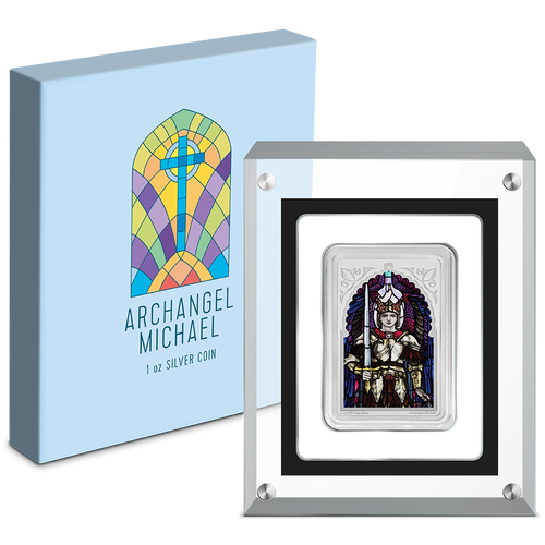 Archangel Michael 1oz Silver Coin Packaging