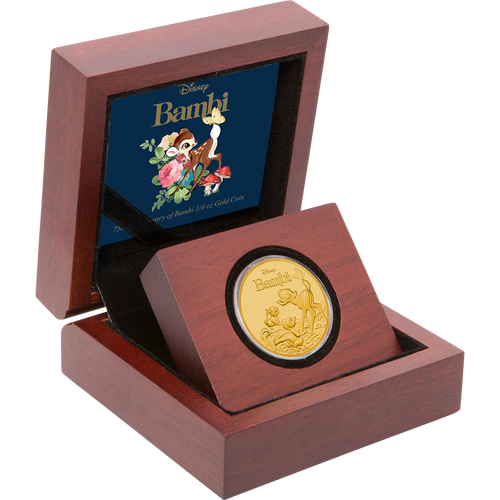 Bambi 75th Anniversary 1/4oz Gold Coin Display