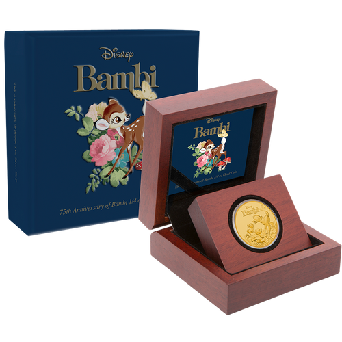 Bambi 75th Anniversary 1/4oz Gold Coin Packaging