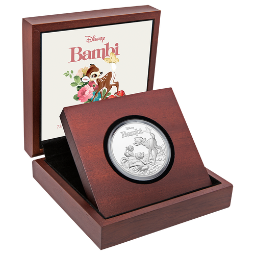 Bambi 75th Anniversary 1oz Silver Coin Display