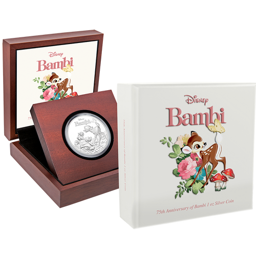 Bambi 75th Anniversary 1oz Silver Coin Packaging
