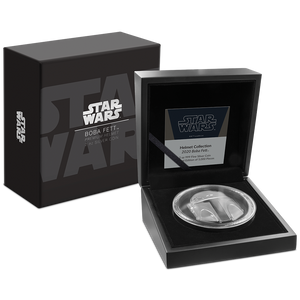 Star Wars™ Helmets: Boba Fett™ Helmet Ultra High Relief 2oz Silver Coin in Display Packaging
