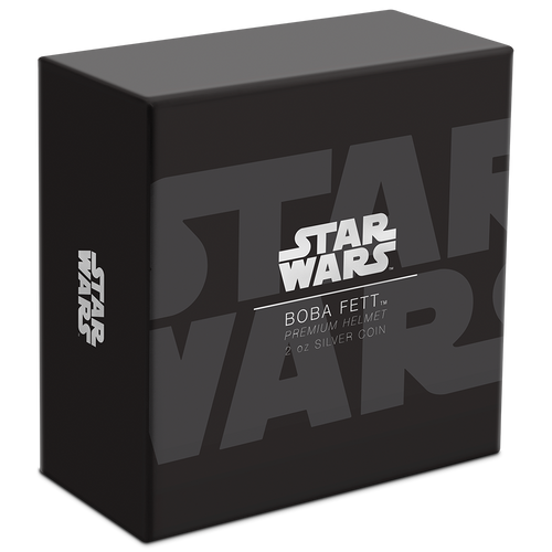Star Wars™ Helmets: Boba Fett™ Helmet Ultra High Relief 2oz Silver Coin Box