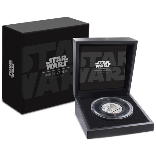 Star Wars Darth Vader™ Ultra High Relief 2oz Silver Coin packaging