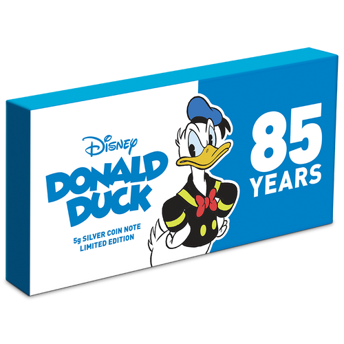 Donald Duck 85th Anniversary 5g Silver Coin Note Box