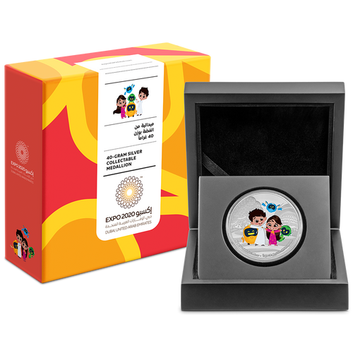 Expo 2020 Dubai – Mascots 40g Silver Medallion with Presentation Box and Packaging