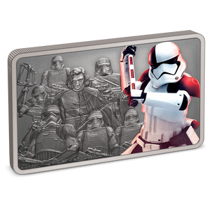 This 1oz pure silver collectible coin features a coloured image of the Trooper, axe raised and ready to strike. The detailed, engraved background shows Kylo Ren™, Captain Phasma™, the commander of the First Order's legions of Stormtroopers, and more troopers ready for battle | NZ Mint