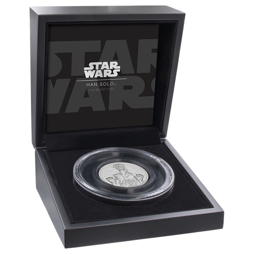 Star Wars: Han Solo™ Ultra High Relief 2oz Silver Coin Display