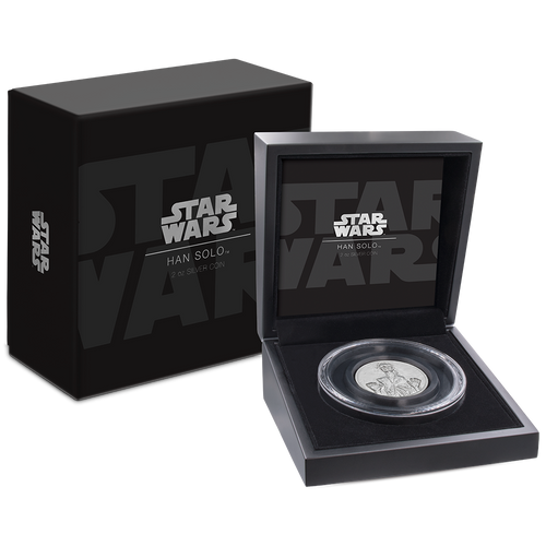 Star Wars: Han Solo™ Ultra High Relief 2oz Silver Coin Packaging