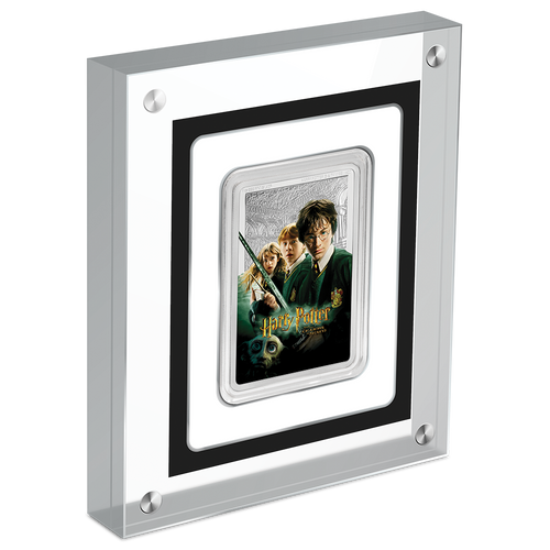 HARRY POTTER™ Classic Poster - The Chamber of Secrets 1oz Silver Coin in Perpsex Display