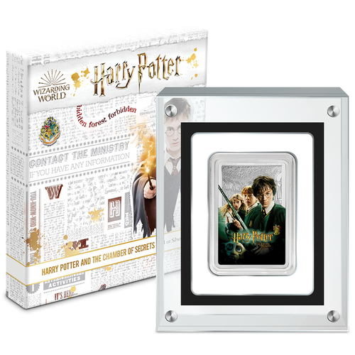 HARRY POTTER™ Classic Poster - The Chamber of Secrets 1oz Silver Coin Packaging