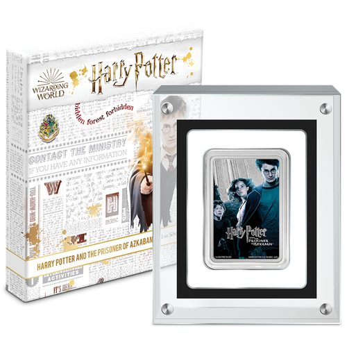 HARRY POTTER Classic Poster- Prisoner of Azkaban 1oz Silver Coin Display Packaging