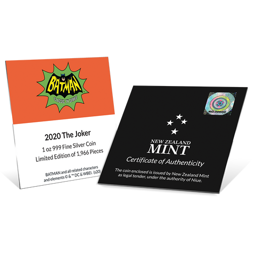 BATMAN™ '66 - THE JOKER™ 1oz Silver Coin Certificate