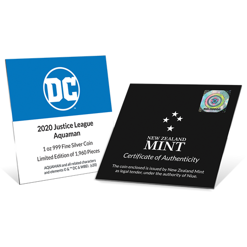 JUSTICE LEAGUE™ 60th Anniversary AQUAMAN™ 1oz Silver Coin Certificates