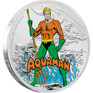 JUSTICE LEAGUE™ 60th Anniversary AQUAMAN™ 1oz Silver Coin Front