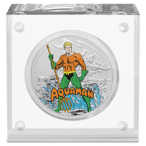 JUSTICE LEAGUE™ 60th Anniversary AQUAMAN™ 1oz Silver Coin Perspex Packaging