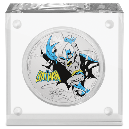 JUSTICE LEAGUE™ 60th Anniversary - BATMAN™ 1oz Silver Coin Display