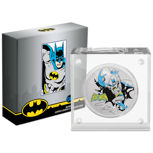 JUSTICE LEAGUE™ 60th Anniversary - BATMAN™ 1oz Silver Coin Packaging