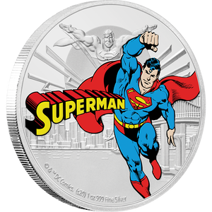 JUSTICE LEAGUE™ 60th Anniversary SUPERMAN™ 1oz Silver Coin Front | NZ Mint