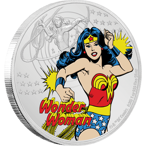 JUSTICE LEAGUE™ 60th Anniversary WONDER WOMAN™ 1oz Silver Coin Front View