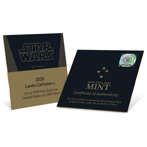 Star Wars Classic: Lando Calrissian™ 1/4oz Gold Coin Certificate
