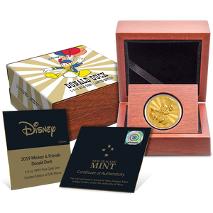 Mickey Mouse & Friends Retro Carnival - Donald Duck 1/4oz Gold Coin Packaging