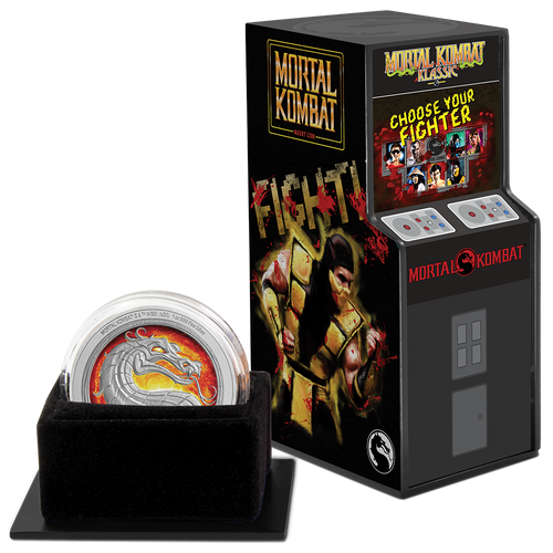 Mortal Kombat 1oz Silver Coin Display Packaging Left
