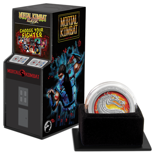 Mortal Kombat 1oz Silver Coin Display Packaging