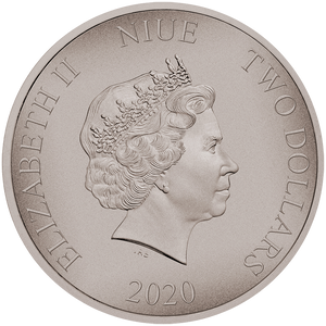 Ian Rank-Broadley Effigy of Queen Elizabeth II $2 Niue 2020 Antiqued 1oz Silver Coin Obverse