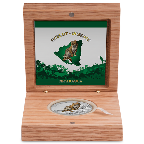 Wildlife of Nicaragua - Ocelot 1oz Silver Coin Display