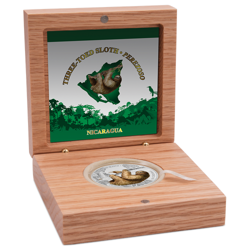 Wildlife of Nicaragua - Three-Toed Sloth 1oz Silver Coin Display