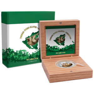 Wildlife of Nicaragua - Three-Toed Sloth 1oz Silver Coin Packaging