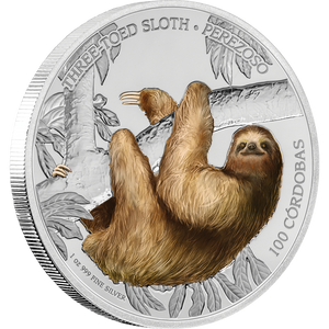 Wildlife of Nicaragua - Three-Toed Sloth 1oz Silver Coin
