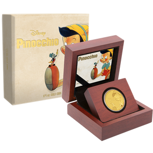 Pinocchio 1/4oz Gold Coin Packaging
