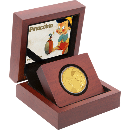 Pinocchio 1/4oz Gold Coin Display
