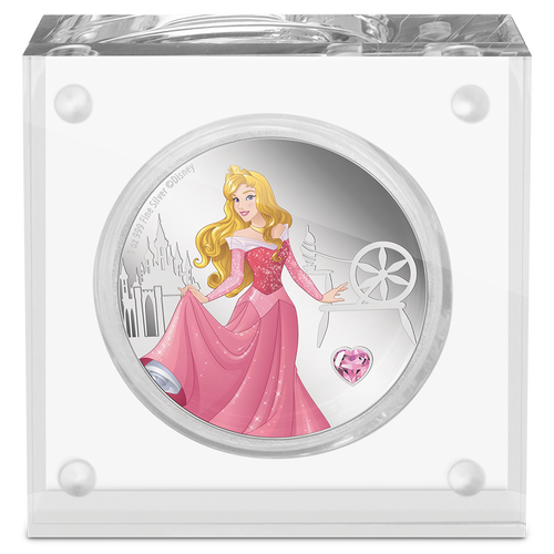 Disney Princess With Gemstone - Aurora 1oz Silver Coin