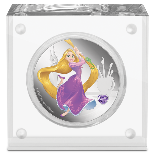 Disney Princess With Gemstone - Rapunzel 1oz Silver Coin Display