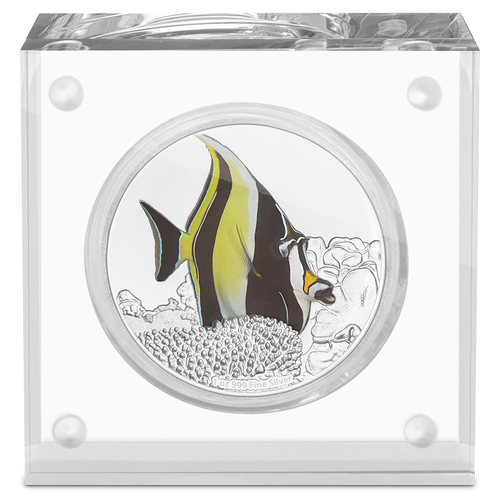 Reef Fish - Moorish Idol 1oz Silver Coin Display
