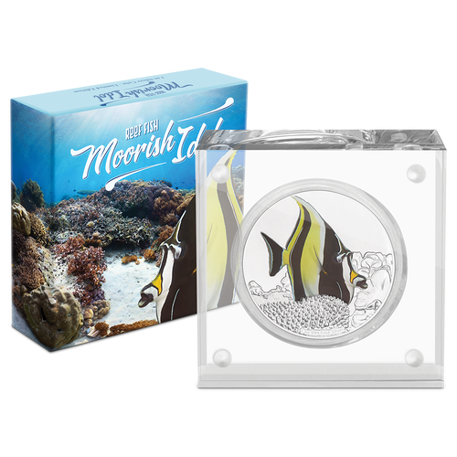 Reef Fish - Moorish Idol 1oz Silver Coin Packaging
