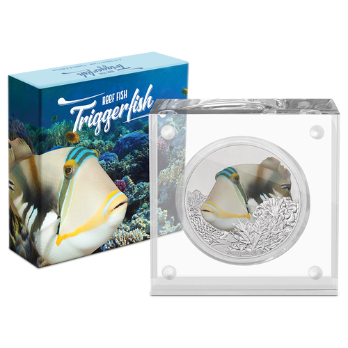 Reef Fish - Triggerfish 1oz Silver Coin Packaging