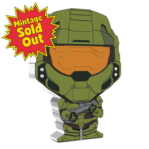 MINTAGE SOLD OUT! Officially licensed by Microsoft and made from 1oz of pure silver, this Chibi™Coin features the legendary super-soldier the Master Chief. The coin has been shaped and coloured in the Chibi art style to mimic the iconic hero from the Halo franchise.