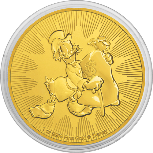 1oz Gold Bullion Coin Disney Scrooge McDuck 2018 in capsule packaging
