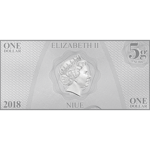 Star Trek Original Series - Lt. Uhura 5g Silver Coin Note Obverse